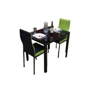 SALLE A MANGER 2 PLACES + TABLE EN VERRE NOIR(COULEUR VERT CITRON)