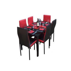 SALLE A MANGER 6 PLACES + TABLE EN VERRE NOIR(COULEUR NOIR ET ROUGE )