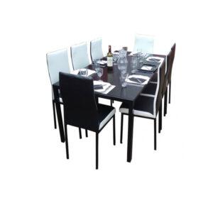 SALLE A MANGER 8 PLACES + TABLE EN VERRE NOIR(COULEUR NOIR ET BLANC )