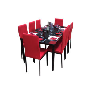 SALLE A MANGER 8 PLACES + TABLE EN VERRE NOIR(COULEUR ROUGE)