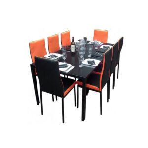 SALLE A MANGER 8 PLACES + TABLE EN VERRE NOIR(COULEUR NOIR ET ORANGE)