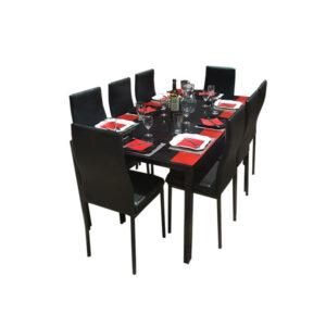 SALLE A MANGER 8 PLACES + TABLE EN VERRE NOIR(COULEUR NOIR )