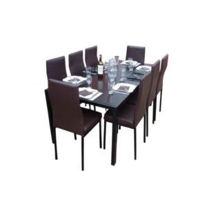 SALLE A MANGER 8 PLACES + TABLE EN VERRE NOIR(COULEUR MARRON )