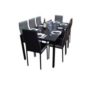 SALLE A MANGER 8 PLACES + TABLE EN VERRE NOIR(COULEUR NOIR ET GRIS)