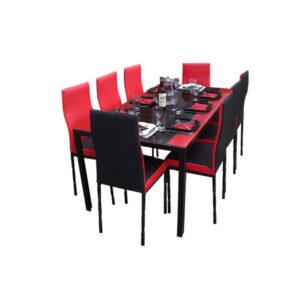SALLE A MANGER 8 PLACES + TABLE EN VERRE NOIR(COULEUR NOIR ET ROUGE)