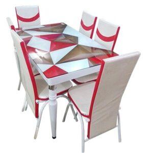 SALLE A MANGER 6 PLACES + TABLE EN VERRE(COULEUR ROUGE BEIGE)