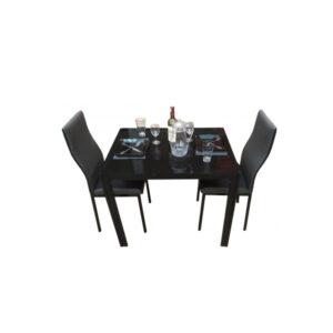 SALLE A MANGER 2 PLACES + TABLE EN VERRE NOIR(COULEUR NOIR)