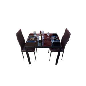SALLE A MANGER 2 PLACES + TABLE EN VERRE NOIR(COULEUR CHOCOLAT)