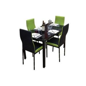 SALLE A MANGER 4 PLACES + TABLE EN VERRE NOIR(COULEUR NOIR ET VERT CITRON )