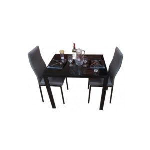 SALLE A MANGER 2 PLACES + TABLE EN VERRE NOIR(COULEUR GRIS)