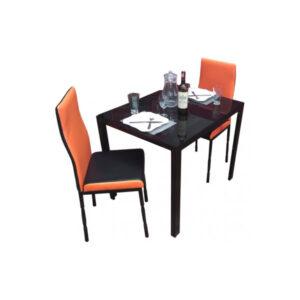SALLE A MANGER 2 PLACES + TABLE EN VERRE NOIR(COULEUR NOIR &ORANGE)