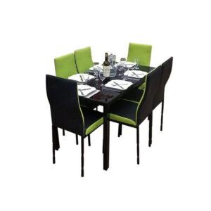 SALLE A MANGER 6 PLACES + TABLE EN VERRE NOIR(COULEUR NOIR ET VERT CITRON) )