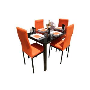 SALLE A MANGER 4 PLACES + TABLE EN VERRE NOIR(COULEUR ORANGE )