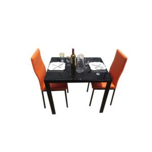 SALLE A MANGER 2 PLACES + TABLE EN VERRE NOIR(COULEUR ORANGE)