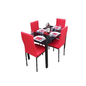 SALLE A MANGER 4 PLACES + TABLE EN VERRE NOIR(COULEUR ROUGE )