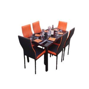 SALLE A MANGER 6 PLACES + TABLE EN VERRE NOIR(COULEUR NOIR ET ORANGE )