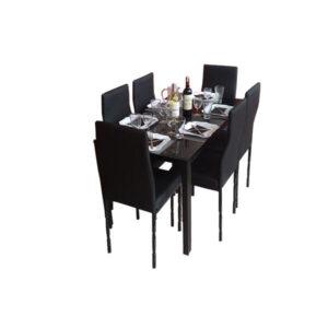 SALLE A MANGER 6 PLACES + TABLE EN VERRE NOIR(COULEUR NOIR )