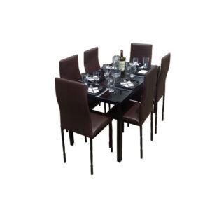 SALLE A MANGER 6 PLACES + TABLE EN VERRE NOIR(COULEUR MARRON )