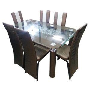 SALLE A MANGER 6 PLACES + TABLE EN VERRE(COULEUR MARRON )
