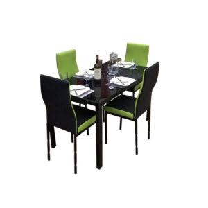 SALLE A MANGER 4 PLACES + TABLE EN VERRE NOIR(COULEUR VERT )