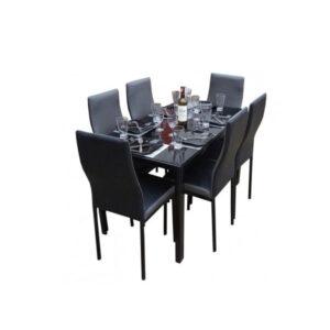 SALLE A MANGER 6 PLACES + TABLE EN VERRE NOIR(COULEUR NOIR ET GRIS )