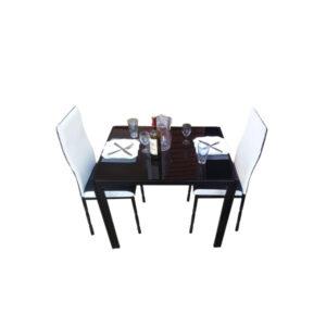 SALLE A MANGER 2 PLACES + TABLE EN VERRE NOIR(COULEUR NOIR ET BLANC)