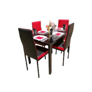 SALLE A MANGER 4 PLACES + TABLE EN VERRE NOIR(COULEUR NOIR ET ROUGE )